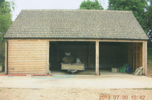 Concrete tiles on a new oak framed garage roof